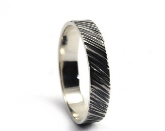 Ring band 4mm with texture outside, one texture or text is included, solid sterling silver, wedding band, ring for men,  dark silver. #J139