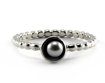 Pearl ring, tiny swirl with 3-4mm freshwater pearl, stackable ring, sterling silver, tiny silver ring with pearl, stackable ball ring, #S103