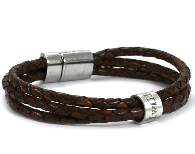 Featured listing image: Customized leather bracelet, silver ring around 3 leather cord, personalized bracelet in leather, different color, unisex, . #BC137