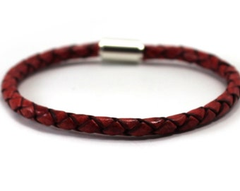 Leather bracelet with magnetic clasp, simple 4mm braided rope bracelet, only 1 is included, simple minimalist leather cord, add bead #BC145