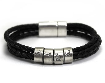 Customized name leather bracelet, 1 to 7 silver rings, personalized bracelet in leather, different color, unisex, bracelet for men . #BC137