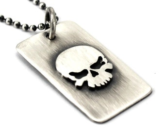 Skull dog tag, one or two army ID tag with text, coordinates necklace for men, solid sterling silver, skull necklace for men, text. #H102