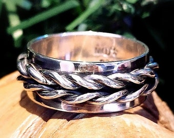 Two braided bands, twisted wire rings, large silver ring, braided silver ring. READY TO GO