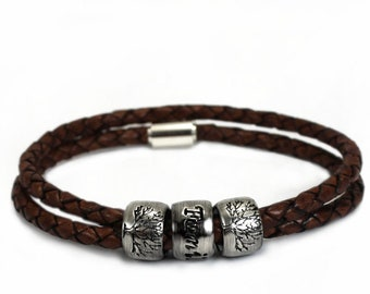 Customized bead bracelet for men, name leather and silver bracelet, customised bracelet, kids names, dates or words engraved #BC160