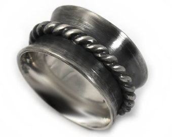 12 mm silver band with twisted ring in the middle, solid sterling silver oxidized,  READY TO GO