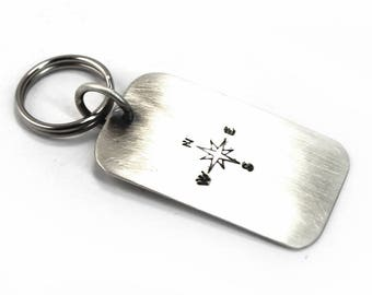 Personalized dog tag keychain, army ID tag with text, symbol or coordinates, solid sterling silver plate. Key ring tag, gift for men. #PC101
