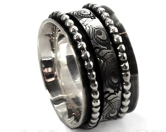 13mm meditation ring, feather pattern and two bead wire, solid sterling silver oxidized, large silver band, large ring, spinner ring. #J210