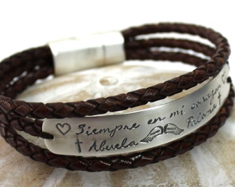 Large plate Leather bracelet, 10 mm wide silver plate, memorial bracelet, mourning bracelet, angel bracelet, custom with text. #BC127