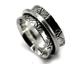 10 mm silver band with texture, feather ring,twisted ring in the middle, text inside available, solid sterling silver oxidized,  ring. #J206
