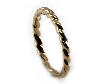 Thick 10k gold twisted ring, 2mm twisted cable wire ring, chunky cable ring, yellow, white or rose gold, thick twisted ring in gold. #J209