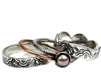 SET OF 4 stacking rings, 1 with pearl, 1 in 10 kt rose gold and 2 in sterling silver, laces pattern, personalized ring, stacking ring #BE136