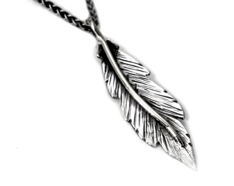 Unique Feather pendent 35mm, handmade feather necklace, solid sterling silver, each feather is unique, #P103