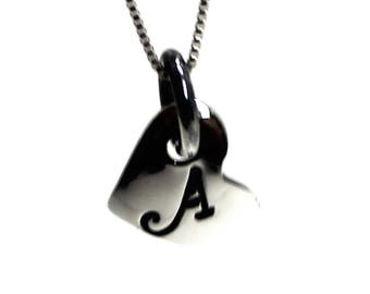 Silver heart necklace, charm necklace in silver, 10 mm diameter, custom necklace, letters pendant, silver charm, gift, little gift. #PA118