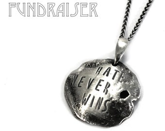 Disc necklace, hate never wins, distressed circle necklace, burned, KCF FUNDRAISER All profit will go to rebuild our CrossFit gym #KCF5