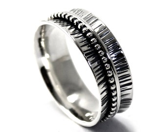 Ring band 8mm with different textures, text inside available, solid sterling silver oxidized, large silver band, thumb ring. #J114