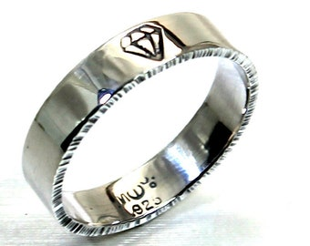 Thick ring band 5mm wide (3/16'') 1.5mm thick, personalized and hammered sides, sterling silver. #J181