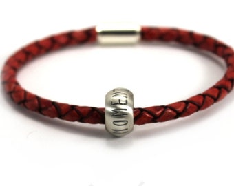 Name bracelet with domed beads, leather and silver bracelet, customised bracelet, magnetic clasp, gift for men, gift for dad . #BC143