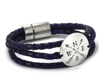 Compas leather bracelet, wandered bracelet, arrow bracelet, north bacelet, compas rose, braided leather bracelet, silver disc . #BC136
