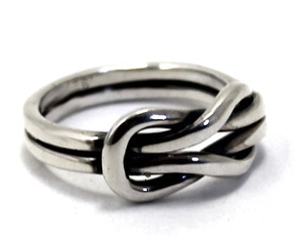 Chunky double reef knot ring, double knot ring in sterling silver, friendship ring, sailor ring, silver ring, thick knot ring. #B142