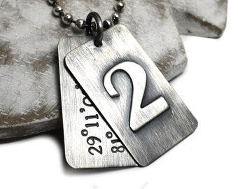 2 Personalized dog tags necklace, 1 with monogram 1 with text, coordinates necklace for men, solid sterling silver. Chain not included #H123