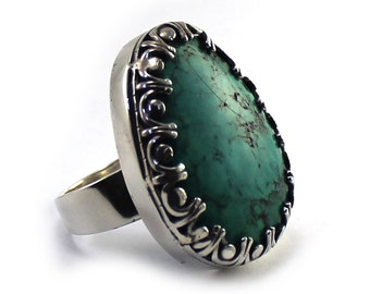 Turquoise howlite silver ring, natural stone dye turquoise, sterling silver, unique handmade, one of a kind, unique ring. READY TO GO