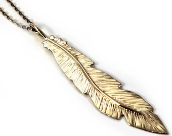 Unique Feather pendent 60mm, handmade feather necklace, solid gold 10k, each feather is unique, no chain #P121