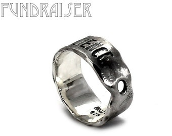 Burned ring band, 8mm wide band,resilience ring, hate never wins, KCF FUNDRAISER All profit will go to rebuild our CrossFit gym #KCF11