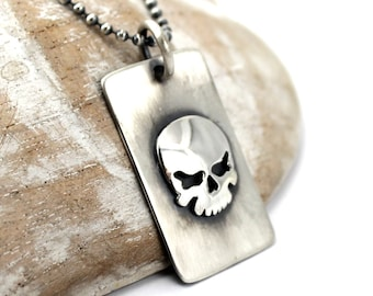 Skull dog tag, one or two army ID tag with text, skull necklace for men, solid sterling silver, skull necklace for men, custom text. #H112