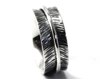 8 mm silver band with lines texture, feather ring, text inside available, solid sterling silver oxidized, large silver band, ring. #J131