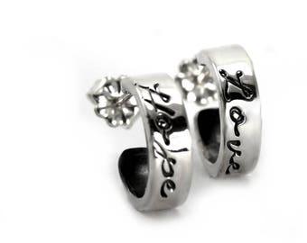 Small hoop earrings, personalized earrings, gift for her, gift for mom, personalized gift, kids names earring, hoop sterling silver. #BO229