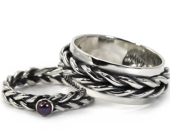 His and Hers: two braided bands, one with a pearl, twisted wire rings, silver ring set, braided silver ring set, promise rings. #EJ184