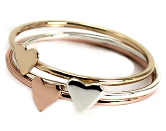 ONE Tiny heart ring solid gold, small stackable ring in 10k gold, available in yellow, rose or white gold. #J210