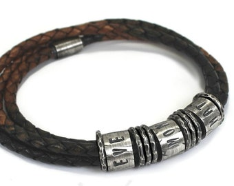 Distressed name leather bracelet for men, 3 cords, name bead with at least 6 hammered separator, gift for men, gift for dad . #BC155
