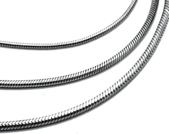 Silver snake chain 1.30 / 1.95 / 2.25 mm, solid sterling silver .925 snake chain of high quality, cut to size seamed omega snake chain #C104