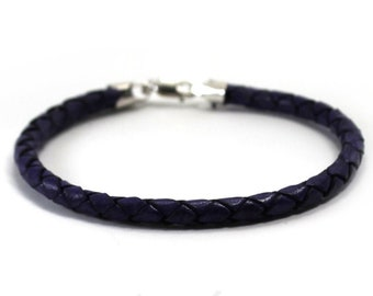 Leather bracelet, simple 4mm braided rope bracelet, only one leather bracelet is included, simple minimalist leather cord, add bead #BC146