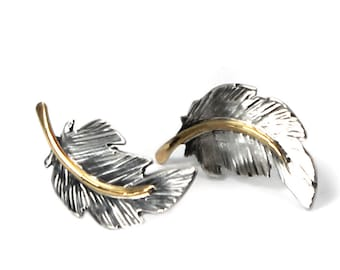 Unique Feather earrings 20mm, handmade feather earrings, solid sterling silver, 10k solid gold wire, each feather is unique, #BO123