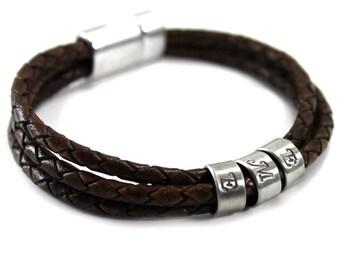 Customized name leather bracelet, 1 to 7 silver rings, kids name bracelet, name bracelet for men, unisex, bracelet for men . #BC137