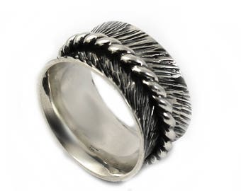 12 mm silver band with texture, feather ring,twisted ring in the middle, text inside available, solid sterling silver oxidized,  ring. #J136