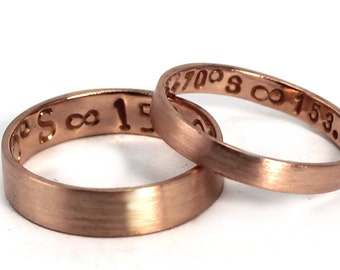 His and Hers rings 5mm - 3mm rings set 10K solid ROSE gold, 2 engravings included on each ring, personalized coordinate ring promise. #EJ160