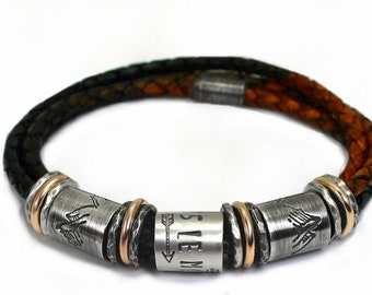 Silver and gold customized bracelet, beads bracelet with 10Kt gold and silver, genuine leather, family bracelet for men or father #BC352