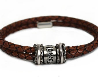 Leather bracelet for men, name bracelet with silver beads and genuine leather, quality family bracelet for dad, customized bracelet #BC162