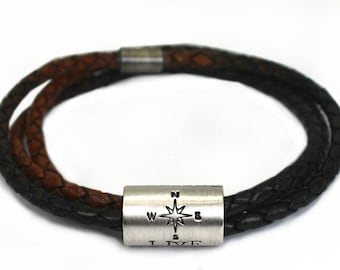 Large bead customized bracelet, compas bracelet for men, leather and silver, customised bracelet, name bracelet, gift for dad . #BC163