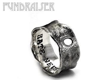 Burned ring band, 10mm wide band,resilience ring, hate never wins, KCF FUNDRAISER All profit will go to rebuild our CrossFit gym #KCF12