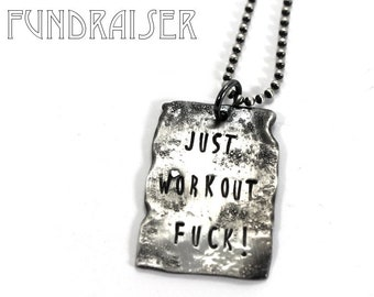 Dog tag necklace, unisex pendent, army plate, distress dog tag, KCF FUNDRAISER All profit will go to rebuild our CrossFit gym #KCF8