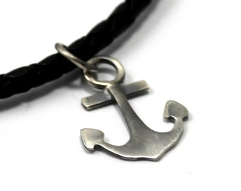Simple Men Anchor Necklace with satin finish, nautical gift, Sterling Silver, anchor pendant, nautical necklace, gift for dad, gift. #H103