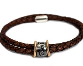 Name bracelet for men, 2 cords leather, bombed bead with smooth 10Kt gold separator, unisex name bracelet, gift for men, gift for dad #BC361