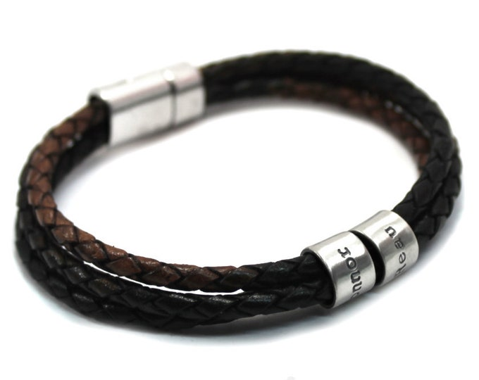 Featured listing image: Customized name leather bracelet, gypsy sippa leather, kids name bracelet, name bracelet for men, brown and black bracelet for men . #BC137