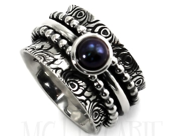 13mm meditation ring, pearl and feather pattern, Different color of pearl, solid sterling silver oxidized, large silver band, ring. #J210