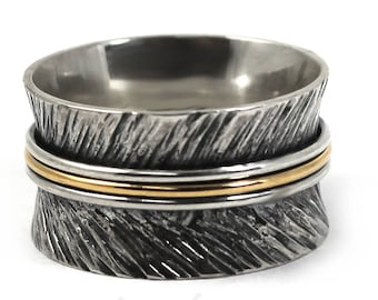 12mm gold and silver band with texture,feather ring,text available,solid sterling silver oxidized,silver and gold ring,3 middle rings. #J135