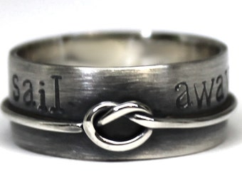 Knot ring band, large ring with knot rope, sailor knot ring, personalized knot ring, coordinates ring, gift ideas, wedding ring. #J138